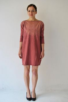 Knielanges Kleid aus Jersey in Rosenholz, Marsala / trendy midi dress, ombre coloured in marsala and rosewood by aempersand via DaWanda.com