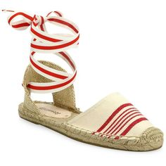 Soludos Striped Cotton Ankle-Wrap Espadrille Sandals ($57) ❤ liked on Polyvore featuring shoes, sandals, apparel & accessories, wrap around sandals, soludos espadrilles, ankle tie sandals, espadrille shoes and wrap shoes