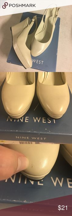 Winter White Wedge NEW! There are a couple of very small marks...I think just from being tried on in the store. Leather Upper. Nine West Shoes