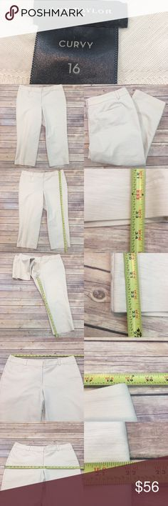 🍭16 Ann Taylor Curvy Cream Stretch Cropped Pants Measurements are in photos. Normal wash wear, light marks on the back of the pant leg, no other flaws.   I do not comment to my buyers after purchases, do to their privacy. If you would like any reassurance after your purchase that I did receive your order, please feel free to comment on the listing and I will promptly respond. I ship everyday and I always package safely. Thanks! Ann Taylor Pants Ankle & Cropped