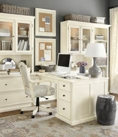 A home office layout like this would allow me to look out the window and the office door.