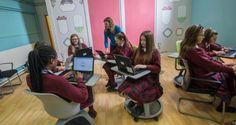 Sinéad O'Sullivan tutors second-year students in digital media literacy in Mercy Secondary School in Inchicore, Dublin. Photograph: Brenda Fitzsimons