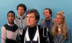 Blakes 7 Cast: Josette Simon as Dayna Mellanby, Steven Pacey as Dell Tarran, Paul Darrow as Kerr Avon, Michael Keating as Vila Restal and Glynis Barber as Soolin. Science Fiction, Mad Science, Glynis Barber, Sci Fi Tv Series, Series 4, Classic Doctor Who, Audio Drama, Sci Fi Shows