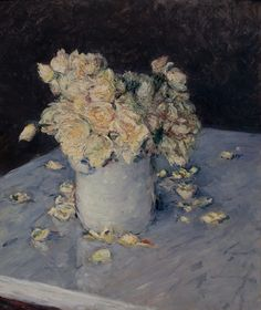Gustave Caillebotte, Yellow Roses in a Vase (Roses jaunes dans un vase), oil on canvas, Dallas Museum of Art National Gallery Of Art, Museum Of Fine Arts, Art Museum, Beaux Arts Paris, Dallas Museums, Art Fund, Yellow Roses, Still Life, Flower Paintings