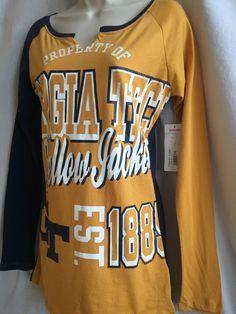 SYTp New Georgia Tech Yellow Jackets Women's Sleep Night Shirt M Long Sleeve Top #KnightsApparel #GeorgiaTechYellowJackets