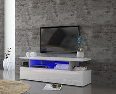 Modern C, TV Cabinet in White Gloss/Cement Finish With Lights #homedesign #homestyle #deco #interiorforinspo #interiorandhome #interiordetails #interiordesignideas #interiordesire #interiores #interiorarchitecture #interiorstyling #interiordecorating #interiorforyou  #interiorlovers #interiorstyle #interiordesign #interior #furniture