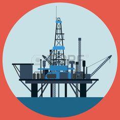 plateforme: Plate-forme pétrolière vecteur plat illustration