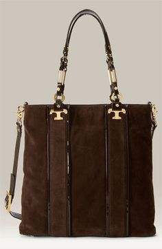 Tory Burch 'Nico' Vertical Suede Tote ~ my fall bag obsession Beautiful Handbags, Beautiful Bags, Tote Handbags, Purses And Handbags, Handbag Accessories, Fashion Accessories, Satchel, Crossbody Bag, My Bags