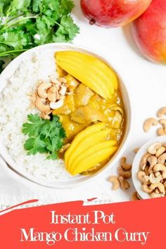 This Instant Pot Mango Chicken Curry is dairy free and packed with delicious sweet mango flavor! Easy to make in the Instant Pot with just 7 minutes of pressure cook time. #instantpotrecipe #instantpotcurry #summerinstantpotrecipe #dairyfreecurry #mangochickencurry Yummy Chicken Recipes, Yum Yum Chicken, Easy Dinner Recipes, Healthy Recipes, Dinner Ideas, Mango Chicken Curry, Coconut Curry Sauce, Curry Dishes, Easy Weeknight Meals