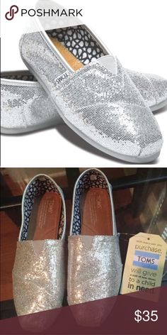 ✨✨NWT SPARKLY TOMS!! ✨✨ Selling silver sparkly Toms shoes! Brand new, in box with tags! Perfect for the holiday season! (or even as a gift ). Make me an offer! TOMS Shoes Flats & Loafers