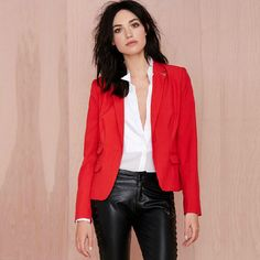 New 2015 Spring Fashion Women Casual Slim Red Solid Asymmetric Blazer Suits Feminino Blaser Designer Jacket Outwear Autumn 6585-in Blazers from Women's Clothing & Accessories on Aliexpress.com   Alibaba Group