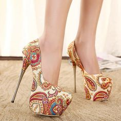 2015 Hot Sales Coolest Fabric Printing Bohemia High Heels Shoes Women Stiletto Pumps Elegant ladies Platform Shoes in box alishoppbrasil