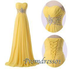 Yellow prom dress, ball gown, 2016 handmade elegant sweetheart neckline strapless long evening dress for teens www.promdress01.c... #promdress #coniefox #2016prom