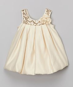 Look at this Tots Fifth Avenue Occasion Champagne Sequin Bubble Dress - Infant, Toddler & Girls on today! Little Girl Outfits, Little Girl Fashion, Toddler Fashion, Toddler Outfits, Fashion Kids, Kids Outfits, Baby Girl Dresses, Baby Dress, Cute Dresses
