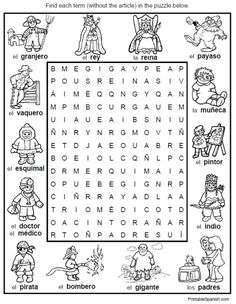 spanish vocabulary worksheet people jobs professions word search puzzle