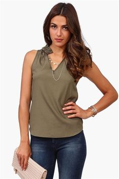 Rouge Collared Top in Olive