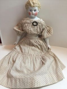 Blonde China Head Doll in Original from widows-walk-antiques-llc on Ruby Lane Old Dolls, Antique Dolls, Vintage Dolls, Antique China, Vintage China, Clothing Patterns, Clothing Ideas, Ladies Gents, Doll Makeup