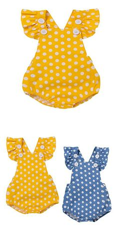 Baby Girl Polka Dot Ruffle Sleeve Button Romper Outfit Clothes (3-6M(Tag80), Yellow)