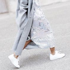 coat, dress and trainers - love!