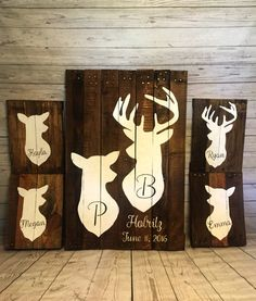 Family Deer Sign- Recycled pallet Deer Sign- Reclaimed wood doe and deer Family- rustic home decor- Hunting decor- Cabin life- Cabin sign by RusticRestyle on Etsy Home Decor Signs, Unique Home Decor, Home Decor Items, Modern Decor, Rustic Decor, Hunting Cabin Decor, Hunting Signs, Archery Hunting, Hunting Crafts