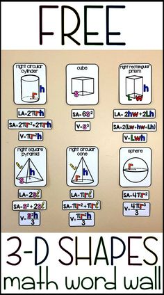 This bulletin board set is a visual reference for the volume and surface area formulas and a free supplement to my other math word walls. Included here are 6 shape posters, their formulas for volume, total surface area and lateral surface area (where applicable) and references for the variables (you can see these in the thumbnails). Shapes include sphere, cube, right circular cone, right square pyramid, right rectangular prism and right circular cylinder.