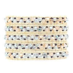 VE Opal Crystals & Seed Beads on Ivory Leather