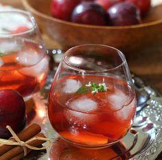 Autumn Sangria: whole cloves, vanilla bean, apple juice, cranberry juice, plums, white wine