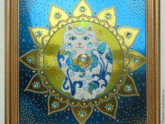 Купить Кот с далёкой Звезды Панно с витражной росписью на диске - украшение интерьера, эксклюзивный подарок