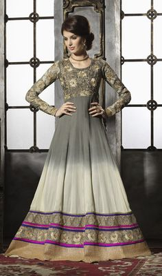 Long Anarkali In Grey And Off White Price: Usa Dollar $160, British UK Pound £94, Euro118, Canada CA$172 , Indian Rs8640.