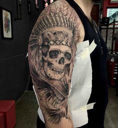 shoulder skull tattoo native american