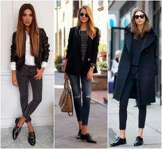 Dicas de looks casuais para o frio com Oxford preto básico, dando elegância e sofisticação ao look, por mais simples que ele seja