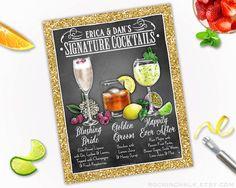 TRIO de boissons | Signe de boissons recommandés - décoration personnalisée pour mariage, fiançailles, dîners de répétition, réceptions, fonctions