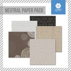 The Neutral Paper Pack includes 12 sheets of double-sided papers; 6 unique designs featuring tone-on-tone on one side and designer on the other side. #CreativeMemories http://www.creativememories.com/creative-memories/decorative/paper-packs.html