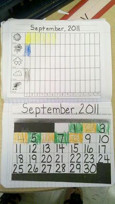 Math notebooks weather and calendar    MANY ways to record data information, to gather information to use during Calendar.