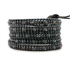 The Black Pearl Wrap Bracelet with Black Diamond Swarovski Crystals on Natural Grey Leather by jewelry designer Chan Luu