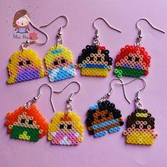 Orecchini mini Hama beads. Mini hama beads earrings inodore d by disney princess