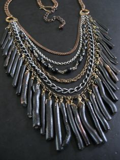 Tribal Statement Necklace - Black Coral and Vintage Rosary Bead - High Priestess Bib No.12