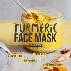 TURMERIC FACE MASK ~ 1. Mix flour, turmeric, honey and milk to make a paste ~ 2…
