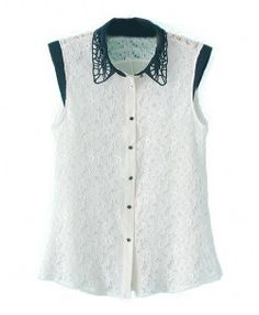 Sleeveless Lace Chiffon Blouse