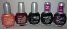 Sunset Prisms, Ruby Star, Onyx Rush, Onyx Rush (this formula has small silver glitter), Grape Times