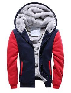 3a42bbf1de7 D.B.M Men s Winter Plus Velvet Padded Zipper Hooded Warm Sweater Jacket