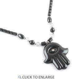 "18"" Hamsa Clear CZ Hematite Necklace * $4.47 Hematite Necklace, Hamsa, 18th, Personalized Items, Stone, Metal, Red, Pink, Batu"