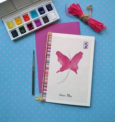 Energy card pink butterfly rice paper recycled by DancingSoulshop