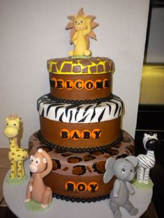 Safari Baby Showe Cake.  For more safari baby shower ideas go to: http://www.modern-baby-shower-ideas.com/safari-baby-shower-theme.html