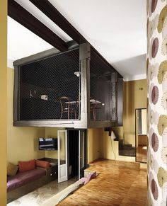 Each of the involved firms in this tiny Milan hotel was responsible for concocting their ideal digs for individual suites. Giovanni Cagnato, Humusstudio, and TomoArchitects devised one-of-a-kind rooms featuring quirky and unforgettable amenities such as a dining area in an iron cage. #architecture #interiors #design #interiordesign #hotel #milan... - Interior Design Ideas, Interior Decor and Designs, Home Design Inspiration, Room Design Ideas, Interior Decorating, Furniture And Accessories