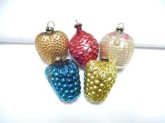 vintage glass ornament lot of 5 Christmas by pennsvintage on Etsy