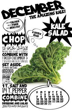 December—Kale Salad 2014 Superfood Recipe Wall Calendar by lizcarverdesign on Etsy, $29.00