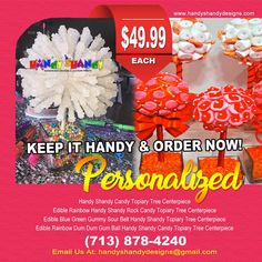 #PERSONALIZED #HANDYSHANDY #CANDY  $49.99 Each..Handy Shandy Candy Topiary Tree centerpiece, Edible Rainbow Handy Shandy Rock Candy Topiary Tree centerpiece, Edible Blue Green Gummy Sour Belt Handy Shandy Rock Candy Topiary Tree centerpiece,Edible Rainbow Dum Dum Gum Ball Handy ShandyCandy Topiary Tree centerpiece! Email handyshandydesigns@gmail.com !!!   #SweetTreat #Candies #YouChoose