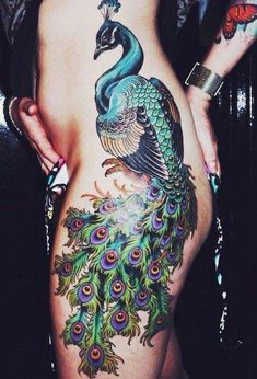 peacock tattoo designs and ideas for men and women both with meanings,meanings of different types of peacock tattoos and best tattoo designs and ideas for. Bird Tattoos For Women, Hip Tattoos Women, Tattoo Designs For Girls, Best Tattoo Designs, Side Tattoos, Body Art Tattoos, New Tattoos, Sleeve Tattoos, Cool Tattoos