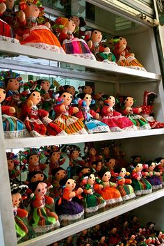 "http://www.artesaniasmarymar.com     ""China La Poblana"" dolls in La Ciudadela artisan market in Mexico City, Mexico. (Photo: http://CollazoProjects.com)"
